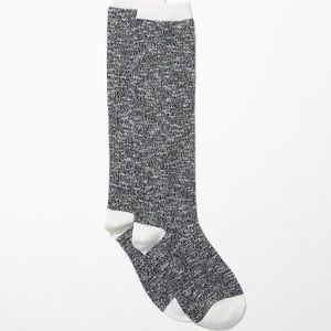 LOFT Textured Boot Socks Gray White One Size NWT